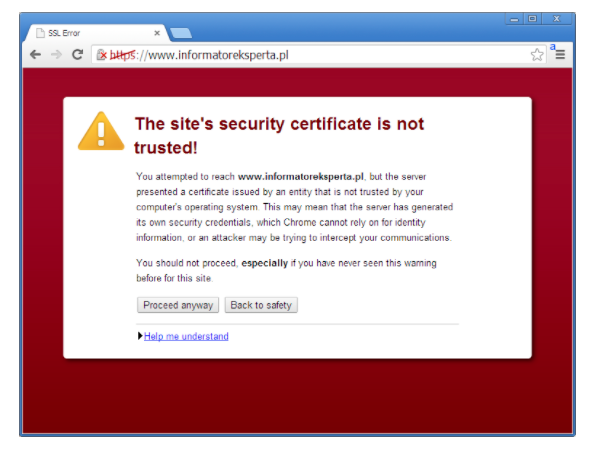 site's security certificate not trusted