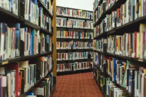 books in a library symbolizing keyword research
