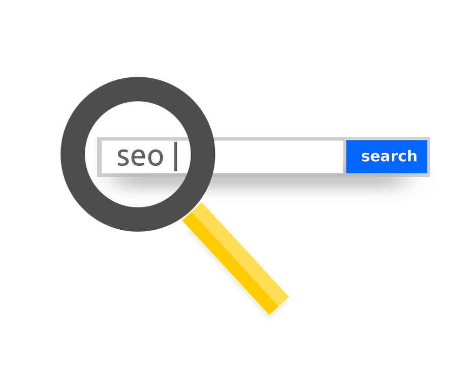 Magnifying glass over SEO in search bar
